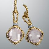Designs Inspired David Yurman 11mm Rose Quartz Cushion on Point Earrings