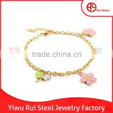 Fashion cute jewelry with flower and butterfly gold 316L stainless steel girls charm bracelet
