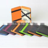 Fashion PU leather magic flip wallet with colorful combination