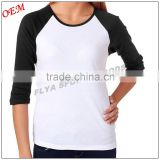 Ladies' 3/4 Sleeve 100% cotton 180gsm wholesale blank baseball t-shirts