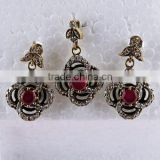 The Big !! Fine Red Onyx & White CZ Brass Silver Jewelry Set, 925 Sterling Silver Jewelry, Silver Jewelry Wholesale