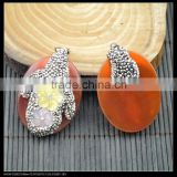 LFD-0045P ~ Wholesale Beautiful Red Agate Druzy Stone Pendants , Pave Rhinestone Crystal Shell Flowers Charms Pendant Jewelry