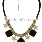 Star Rhinestone and Faux Gem Charm Necklace