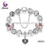Jenia Jewelry White Gold Fashion Girl Glass Bead Bracelet With Heart Bracelet Pattern