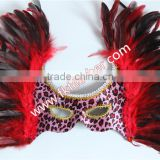 New Products 2016 Big Beautiful Design Red Cock Feather Mask And Venetian Mask For Birthday Party Mask Decoration
