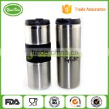 Wholesales BPA free Custom double wall vacuum auto stainless steel thermo travel mug with silicone in middle