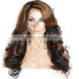 hot fashion! highlight color loose wave, natural hair line, Peruvian hair full lace wig with bang