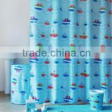 Cartoon ship shower curtain with match bath mats and PS bath accessories set for kids