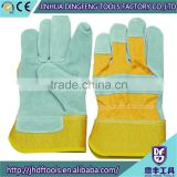 Cow split leather work gloves, patched palm, purple stripe back, plastic cuff cow split leather work gloves