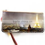 Hot sale famous scenery printing wallet for cards and money