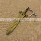 Mini antique bronze metal sword keychain on sale