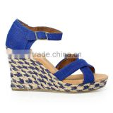Fashion women summer sandals high heel wedge sandals blue mixed rope