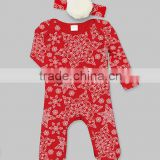 New Autumn Red Snowflake Printed Baby Playsuit Cotton Infant Rompers Kids Clothing With Pom Pom Headband G-NPCS90628-16