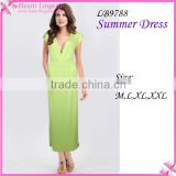 Green Women V-neck Long Summer Maxi Dress