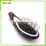 Wooden design small handle plastic hair brush ,professional plastic scalp massage detangle brush for hair,