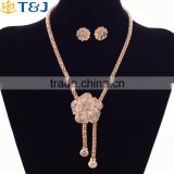 Fahion Wholesale YiWu T&J Dubai Gold Metal Pendant Big Flower Tassel Necklace Ring BraceletsJewelry Set