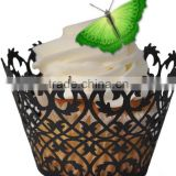Hot sell purple Vine laser cut paper cupcake wrappers with butterfly topper