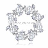 Flower Pearl Beads Pins Wedding Girls Cubic Zirconia Brooch Bouquet