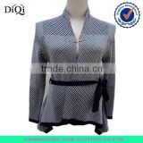 Luxury Classic Strip Sweater Women Cardigan with Belt