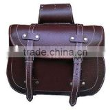 GENUINE BROWN LEATHER MOTORBIKE SADDLE BAGS