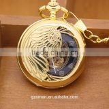 High quality men's gold stainless steel black dial skeleton automatic mechanical pocket watch
