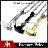 Wholesale Mens Antique Charm Gold Hammer Pendants Stainless Steel Necklace Bead Chain Jewelry
