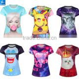 Healong OEM Customized Design 100% Polyester Sublimation Printed 3d Animal T Shirts,Sublimation Tee Shirt Custom Made