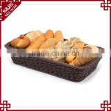 Classic and durable food grade plastic wicker hand woven bread basket for bakery display