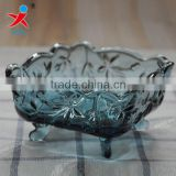 Vintage blue grape corners of square glass bowl ~ european-style ashtray salad bowl soap box dried fruit bowl of ice cream bowl