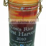 Hot sale coffee tin can with steel wire clasp