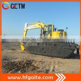 Construction machine designed for swamp and all kind of soft terrain work amphibious excavator