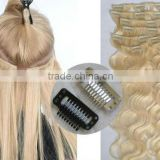 100% brazilian human remy body wave clip in hair extension