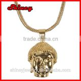 fashion 2014 18k gold franco chain hip hop buddha head necklace