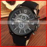 2016 Newest Fashion Black Watch Big Watch Case with PU Leather Strap Water Resistant Mens Watch