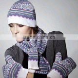 FASHION KNITTED SCARF AND HAT SET/KNITTED WINTER SETS/KNITTED SCARF AND HAT WITH TOP BALL /POMPOM HAT/CABL DESIGN HAT
