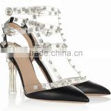 New Arrival Unique PVC Rivets Design Women Shoes Latest Beige Sole Lady Dress Shoes