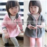 2016 autumn&winter children clothes on both sides wear rabbit sweater coats for baby girls Crystal