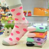 Beacuiful Colored Dot Design Pure Cotton Terry Socks for Women