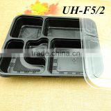 PP Plastic Disposable 5 Compartment Microwave Safe Takeaway Food Container Lunch Tray