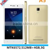 KOMAY dual core mtk6572 3g 5.0 inch 512mb+4gb smart phone A5 android os phone