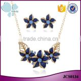 Fashionable design high density gold plated zinc alloy flower necklace earring jewelry set