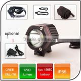 High power cree xml T6 1200 lumen 4.2V 4400mah battery powered led bicycle light rechargeable bike led light for camping