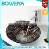 New Products 2015 Innovative 12mm Thickness Tempered Glass Round Shaped Bathroom Wash Sink for Shower Room
