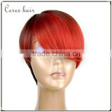 Hot Red color premium yaki texture synthetic wig Japanese fiber short Bob wig best selling full lace wig