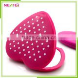 Ningbo factory wholesale plastic double sides heart shaped pocket mirror cheap for promotion gifts