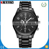 CURREN/CW019 Luxury Brand 2016 China Curren Stainless Steel 3 Dials Casual Watch Quartz Watches relogio masculino