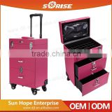 Sunrise PVC Beauty Rolling Nail Polish Portable Barber Hairdresser Trolley Case with Multilayer Drawers