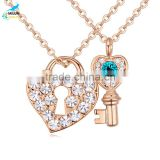 Valentine's day lovers necklace latest design of wholesale high quality heart lock and key pendant crystal necklace