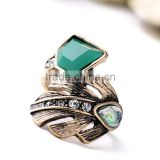 Punk Style Ring Designs Antique Gold Plated Crystal Cluster Leaf Irregular Finger Rings For Women