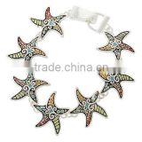 Antique Silver Tone Multi Color Epoxy Magnetic Closure Sea Life Starfish Bracelet